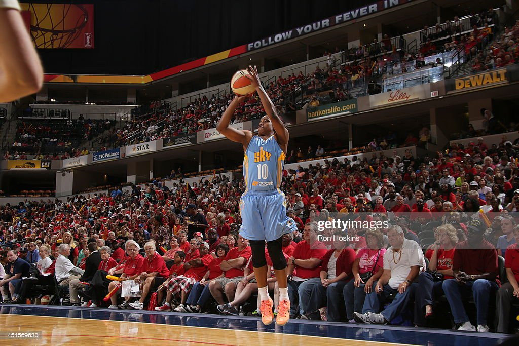 Epiphanny Prince of the Chicago Sky shoots the ball during game three of the 2014 WNBA Eastern Conference Finals against the Indiana Fever on...