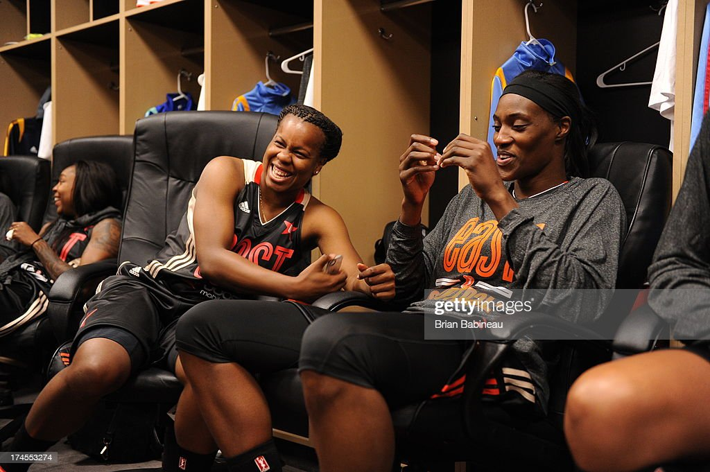 Epiphanny Prince of the Eastern Conference All-Stars shares a laugh in the locker room before the 2013 Boost Mobile WNBA All-Star Game on July 27, 2013 at Mohegan Sun Arena in Uncasville, Connecticut.