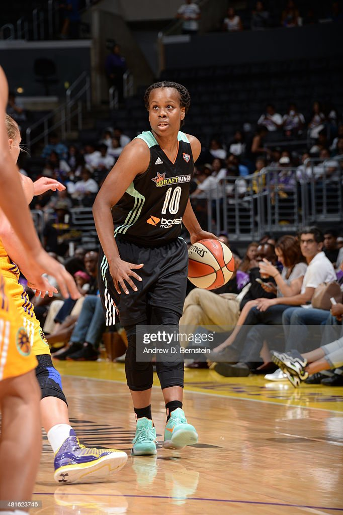 Epiphanny Prince of the New York Liberty brings the ball up court against the Los Angeles Sparks on July 22 2015 at Staples Center in Los Angeles...