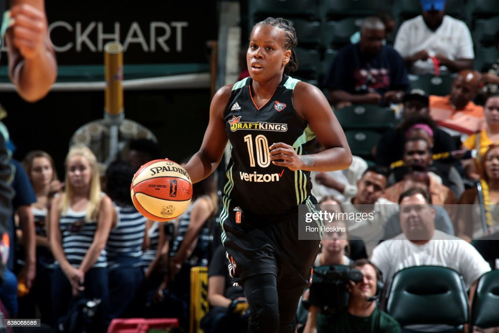 Epiphanny Prince #10 of the New York Liberty brings the ball up court during the game against the Indiana Fever during a WNBA game on August 23, 2017 at Bankers Life Fieldhouse in Indianapolis, Indiana.