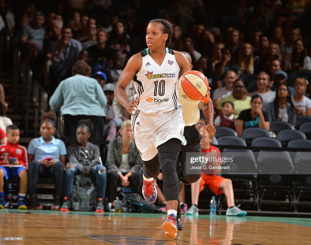 Epiphanny Prince of the New York Liberty brings the ball up the court against the Washington Mystics at Madison Square Garden on September 11 2015 in...