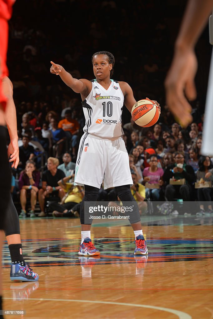 Epiphanny Prince of the New York Liberty calls a play against the Washington Mystics at Madison Square Garden on September 11 2015 in New York New...