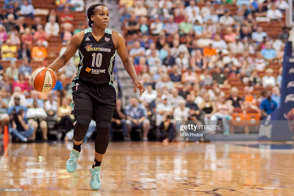 Epiphanny Prince of the New York Liberty dribbles the ball against the Connecticut Sun on August 15 2015 at the Mohegan Sun Arena in Uncasville...