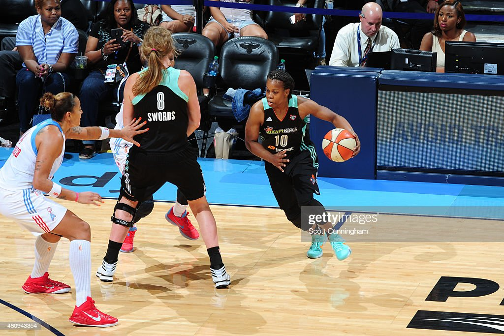Epiphanny Prince of the New York Liberty drives against the Atlanta Dream on July 12 2015 at Philips Arena in Atlanta Georgia NOTE TO USER User...