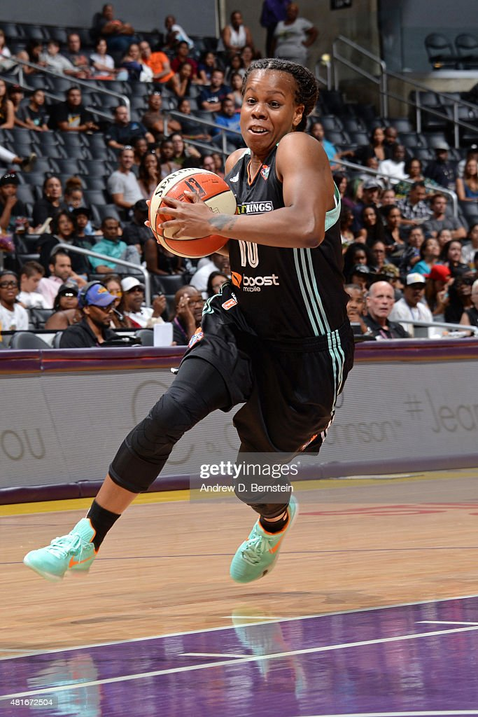Epiphanny Prince of the New York Liberty drives against the Los Angeles Sparks at Staples Center on July 22 2015 in Los Angeles California NOTE TO...