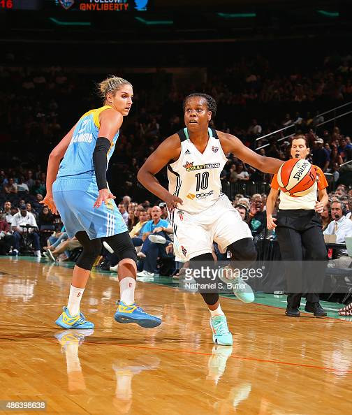Epiphanny Prince of the New York Liberty drives to the basket against the Chicago Sky on September 3 2015 at Madison Square Garden New York City New...