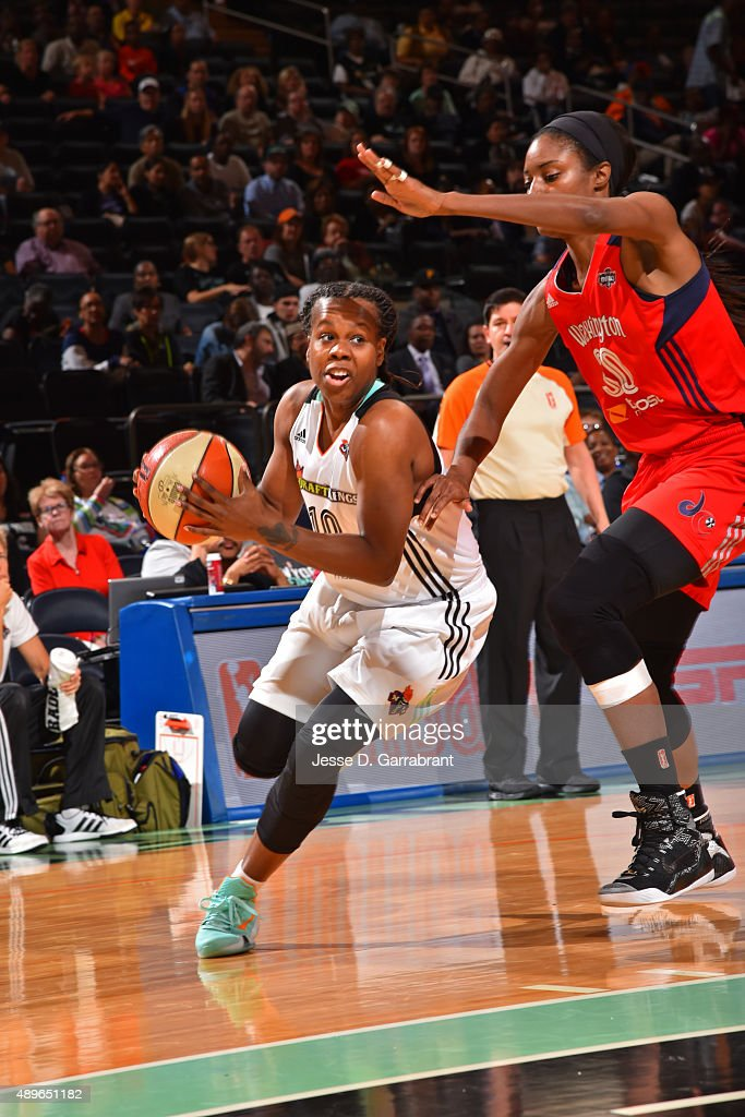 Epiphanny Prince of the New York Liberty drives to the basket against the Washington Mystics during Game One of the WNBA Semifinals at Madison Square...