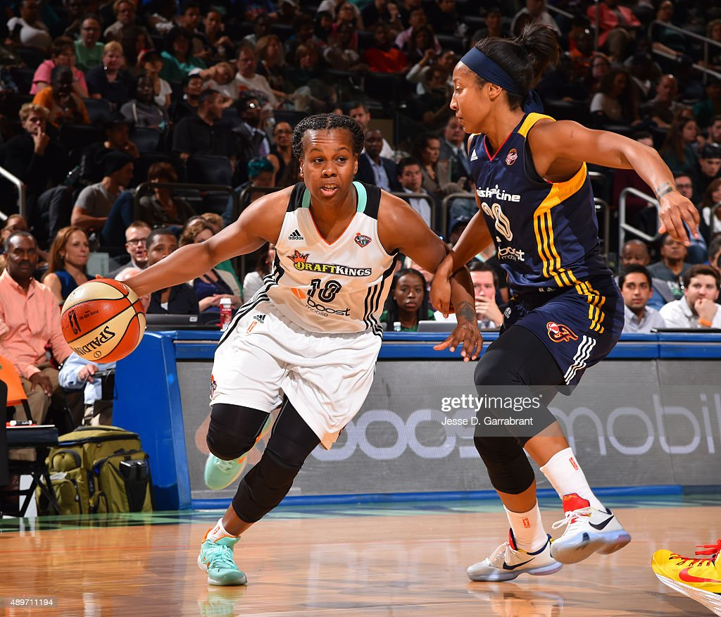 Epiphanny Prince of the New York Liberty drives to the basket against the Indiana Fever during game One of the WNBA Eastern Conference Finals at...