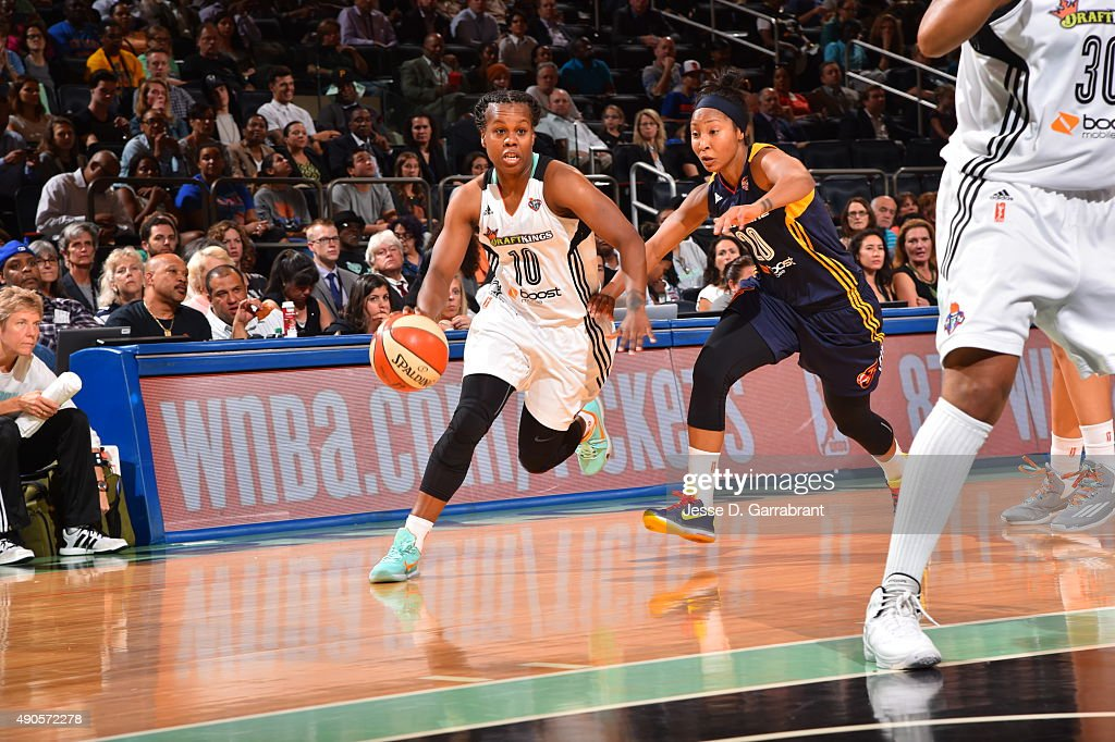 Epiphanny Prince of the New York Liberty drives to the basket against the Indiana Fever during game Three of the WNBA Eastern Conference Finals at...