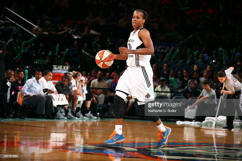 Epiphanny Prince of the New York Liberty handles the ball against the San Antonio Stars on July 15 2015 at Madison Square Garden in New York City NY...