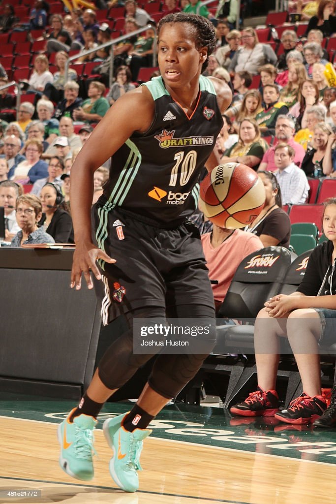 Epiphanny Prince of the New York Liberty handles the ball against the Seattle Storm on July 21 2015 at Key Arena in Seattle Washington NOTE TO USER...