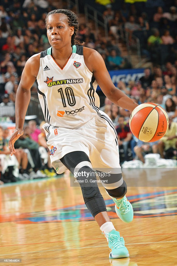 Epiphanny Prince of the New York Liberty handles the ball against the Seattle Storm on August 2 2015 in New York New York NOTE TO USER User expressly...