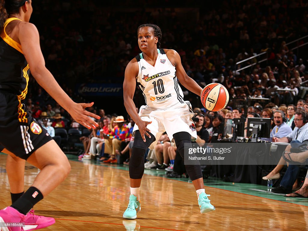 Epiphanny Prince of the New York Liberty handles the ball against the Tulsa Shock on August 15 2015 at Madison Square Garden New York City New York...