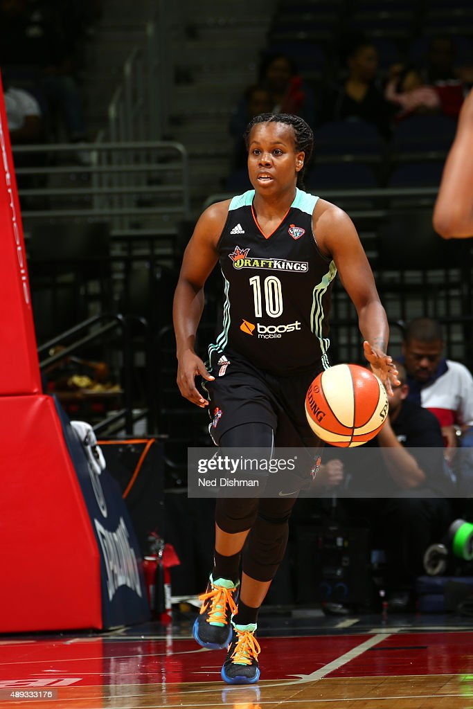 Epiphanny Prince of the New York Liberty handles the ball against the Washington Mystics in Game Two of the WNBA Western Conference Semifinals on...