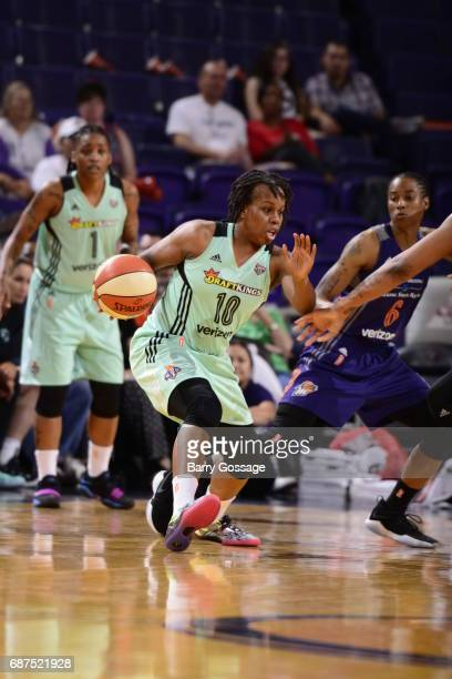 Epiphanny Prince of the New York Liberty handles the ball against the Phoenix Mercury on May 23 2017 at Talking Stick Resort Arena in Phoenix Arizona...