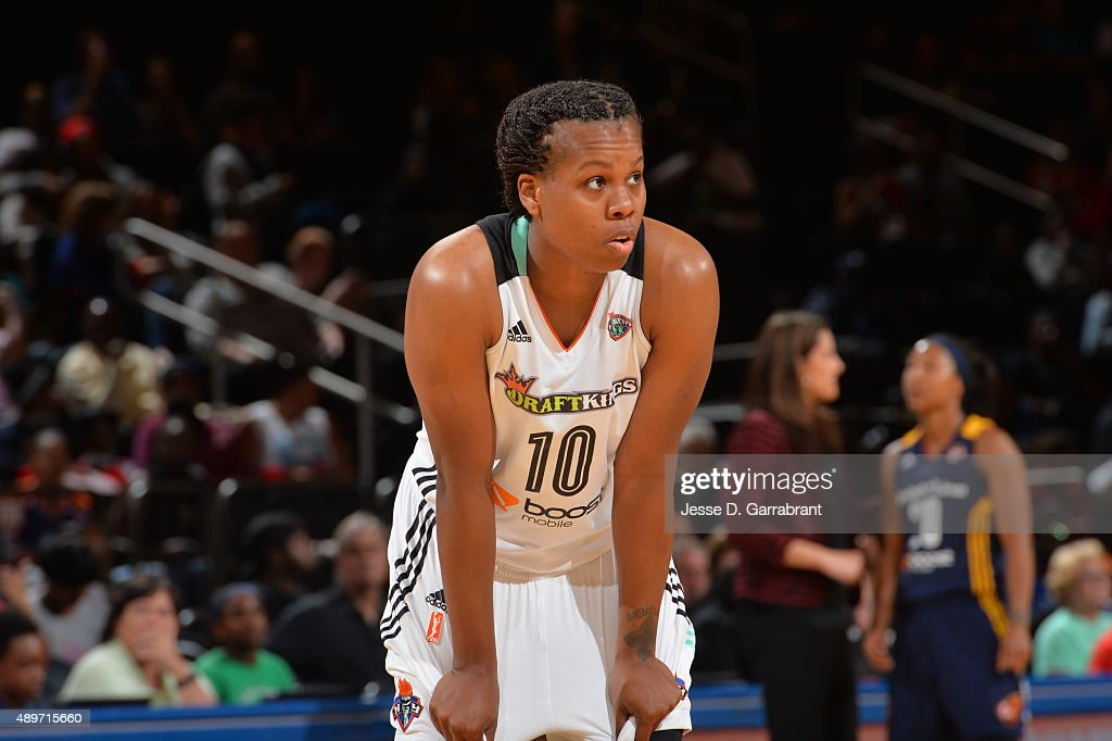 Epiphanny Prince of the New York Liberty looks on against the Indiana Fever during game One of the WNBA Eastern Conference Finals at Madison Square...