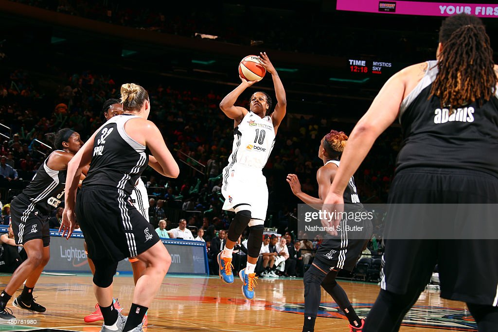 Epiphanny Prince of the New York Liberty shoots against the San Antonio Stars on July 15 2015 at Madison Square Garden in New York City NY NOTE TO...