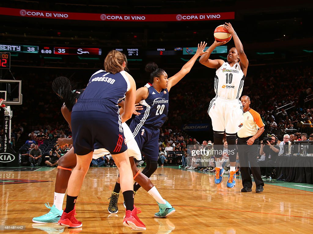 Epiphanny Prince of the New York Liberty shoots against the Connecticut Sun on July 16 2015 at Madison Square Garden in New York City NY NOTE TO USER...
