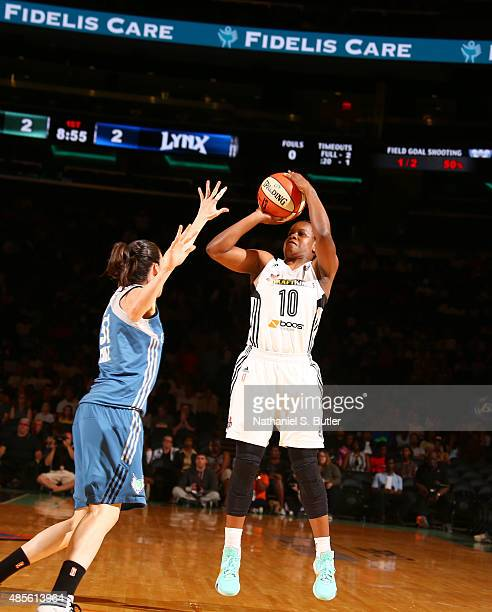 Epiphanny Prince of the New York Liberty shoots during a game against the Minnesota Lynx on August 28 2015 at Madison Square Garden New York City New...