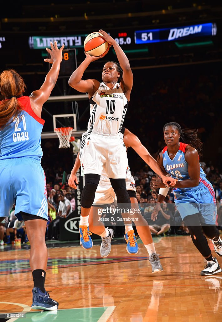 Epiphanny Prince of the New York Liberty shoots the ball against the Atlanta Dream at Madison Square Garden on August 21 2015 in New York New York...