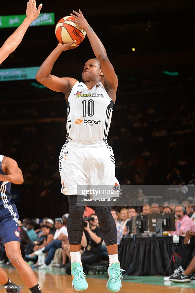 Epiphanny Prince of the New York Liberty shoots the ball against the Connecticut Sun on September 9 2015 at Madison Square Garden New York City New...