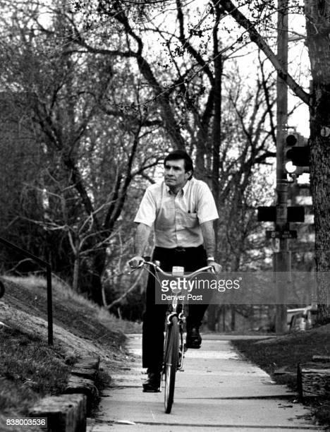 Episcopal Bishop William C Frey biking to Diocesan Center Credit The Denver Post