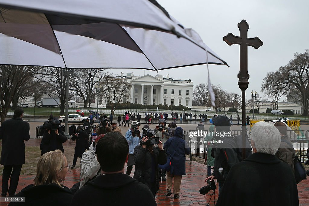 Episcopal bishops from throughout the church lead about 100 clergy and lay people in praying the Stations of the Cross as they processed from the White House to the U. S. Capitol March 25, 2013 in Washington, DC. The march was organized 'to challenge violence, especially the epidemic of gun violence that claims so many thousands of American lives each year.'