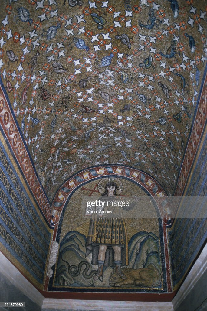 Episcopal Palace in Ravenna: Mosaics of Christ as a Warrior Stepping on a Snake and a Lion