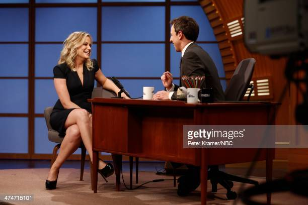 Actress Amy Poehler during an interview with host Seth Meyers on February 24 2014