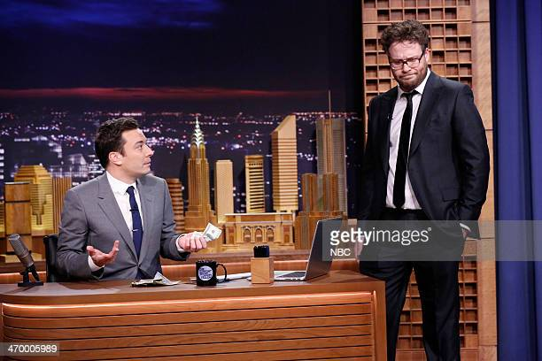 Host Jimmy Fallon and actor Seth Rogen on February 17 2014