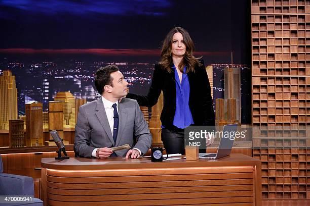 Host Jimmy Fallon and actress Tina Fey on February 17 2014