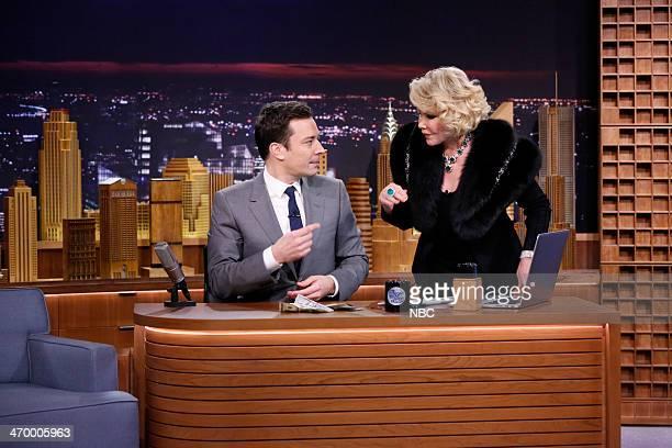 Host Jimmy Fallon and comedian Joan Rivers on February 17 2014