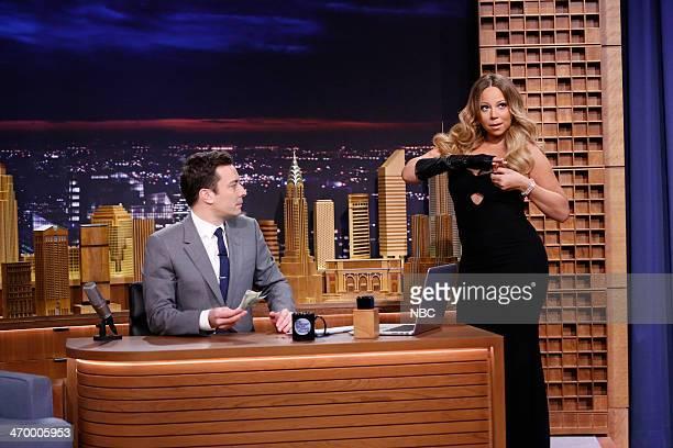 Host Jimmy Fallon and singer Mariah Carey on February 17 2014