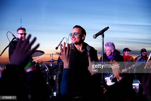 Musical guest U2 performs on February 17 2014
