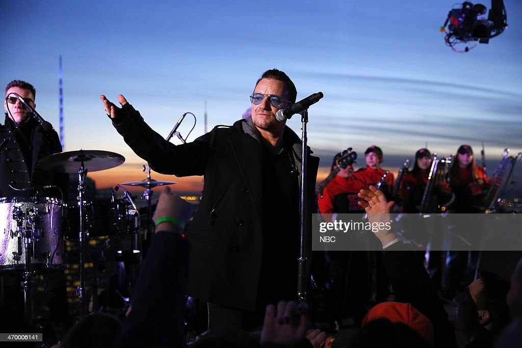 Musical guest U2 performs on February 17, 2014 --