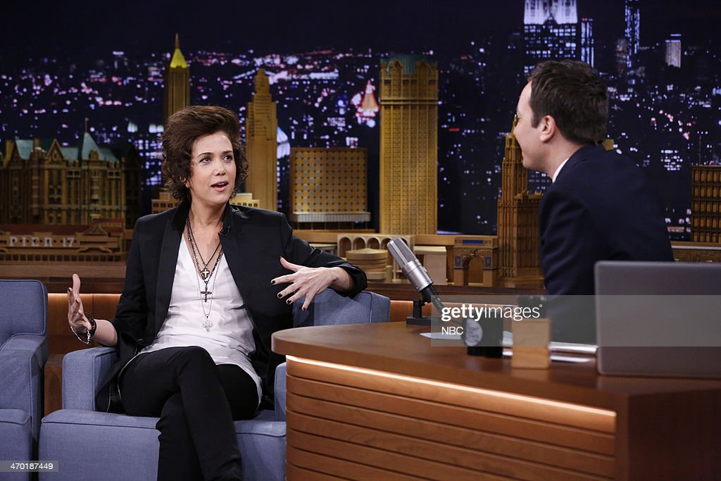 Actress <a gi-track='captionPersonalityLinkClicked' href=/galleries/search?phrase=Kristen+Wiig&family=editorial&specificpeople=4029391 ng-click='$event.stopPropagation()'>Kristen Wiig</a> during an interview with <a gi-track='captionPersonalityLinkClicked' href=/galleries/search?phrase=Jimmy+Fallon&family=editorial&specificpeople=171520 ng-click='$event.stopPropagation()'>Jimmy Fallon</a> on February 18, 2014 --