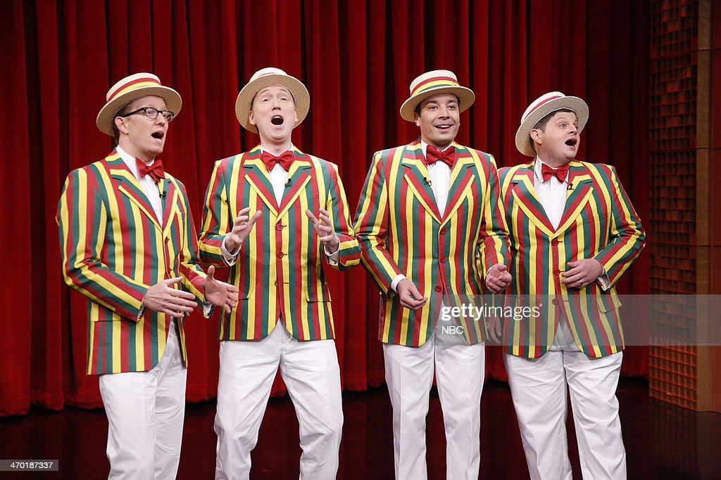 Anthony David Miles, Tom Shillue, Jimmy Fallon, Chris Tartaro of The Ragtime Gals on February 18, 2014 --