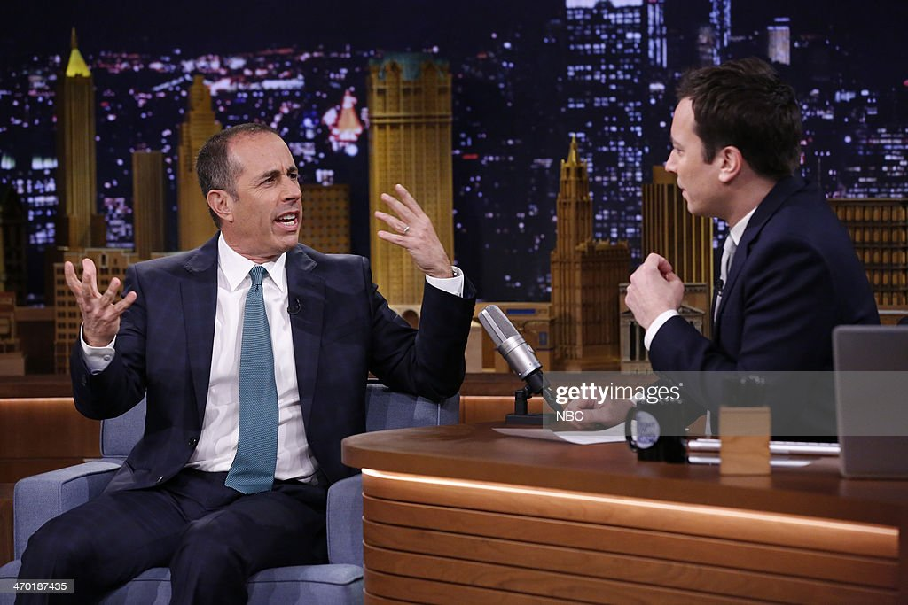 Comedian <a gi-track='captionPersonalityLinkClicked' href=/galleries/search?phrase=Jerry+Seinfeld&family=editorial&specificpeople=210541 ng-click='$event.stopPropagation()'>Jerry Seinfeld</a> during an interview with host Jimmy Fallon on February 18, 2014 --