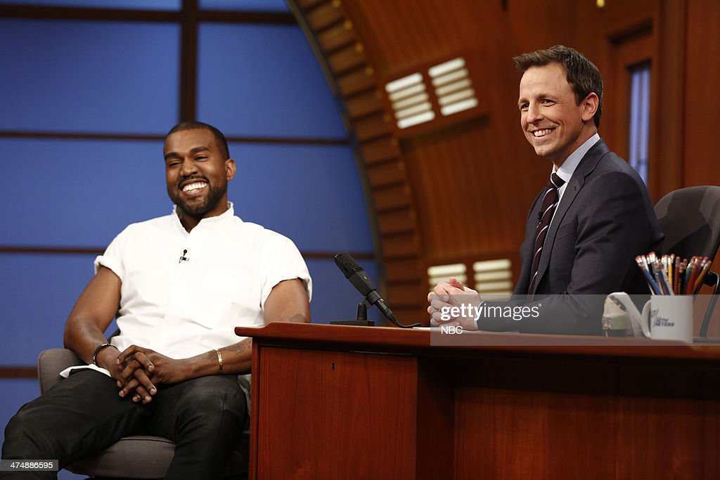 Hip hop artist <a gi-track='captionPersonalityLinkClicked' href=/galleries/search?phrase=Kanye+West+-+Musician&family=editorial&specificpeople=201803 ng-click='$event.stopPropagation()'>Kanye West</a> during an interview with host <a gi-track='captionPersonalityLinkClicked' href=/galleries/search?phrase=Seth+Meyers&family=editorial&specificpeople=618859 ng-click='$event.stopPropagation()'>Seth Meyers</a> on February 25, 2014 --