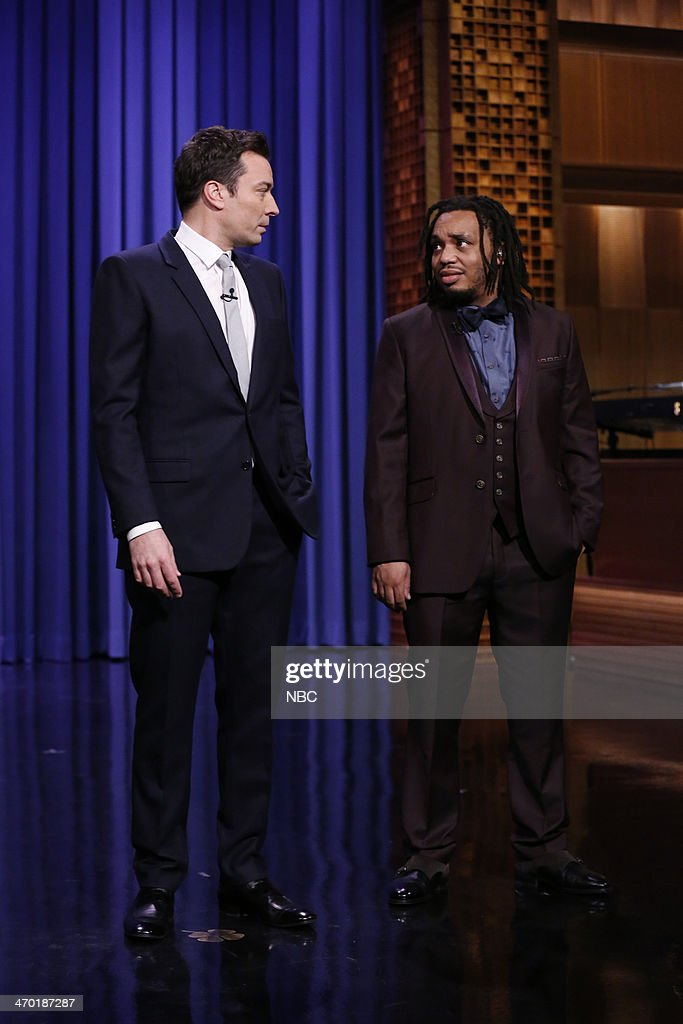 Jimmy Fallon, Mark Kelly of The Roots on February 18, 2014 --