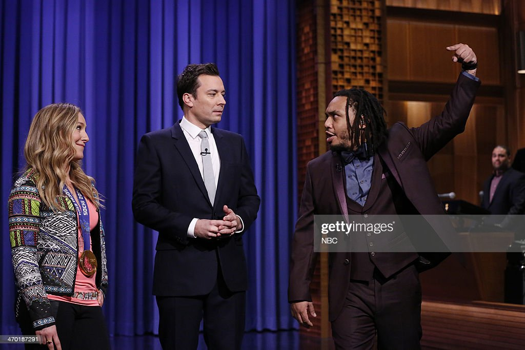 Olympic gold medalist snowboarder Jamie Anderson, Jimmy Fallon, Mark Kelly of The Roots on February 18, 2014 --