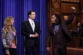 Olympic gold medalist snowboarder Jamie Anderson Jimmy Fallon Mark Kelly of The Roots on February 18 2014