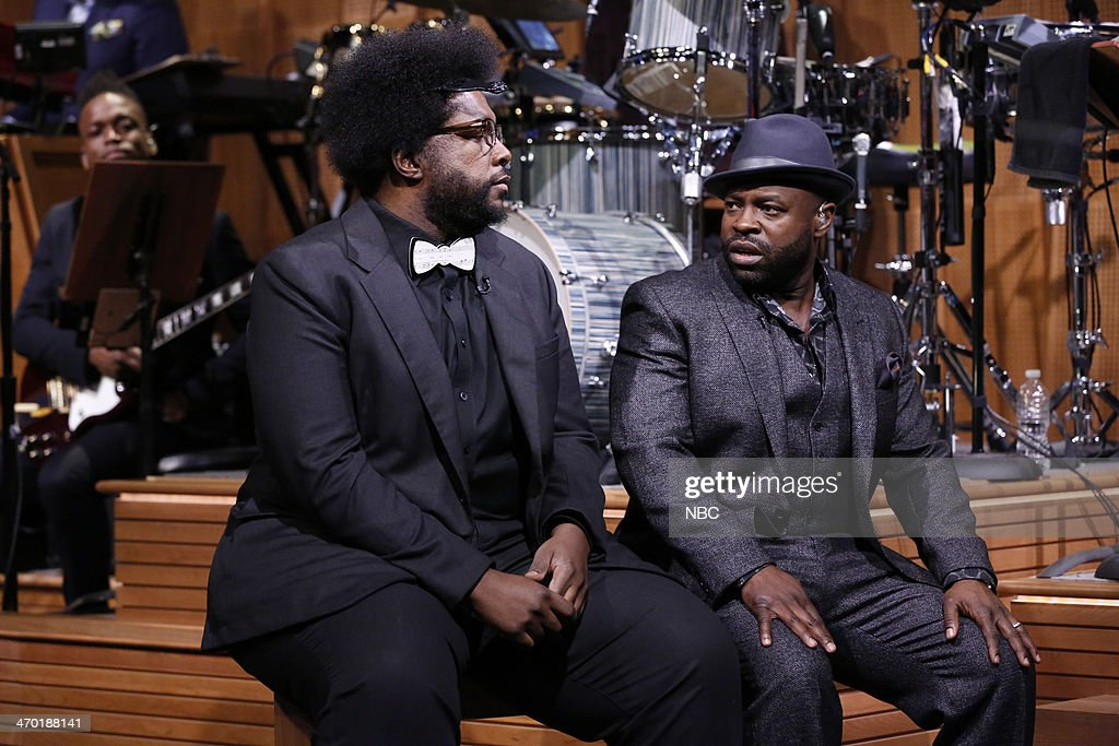 <a gi-track='captionPersonalityLinkClicked' href=/galleries/search?phrase=Questlove&family=editorial&specificpeople=537550 ng-click='$event.stopPropagation()'>Questlove</a> and <a gi-track='captionPersonalityLinkClicked' href=/galleries/search?phrase=Black+Thought&family=editorial&specificpeople=228555 ng-click='$event.stopPropagation()'>Black Thought</a> of The Roots on February 18, 2014 --