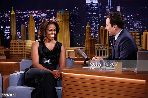 First Lady Michelle Obama during an interview with host Jimmy Fallon on February 20 2014