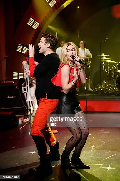 Nick Noonan and Amy Heidemann of musical guest Karmin perform on March 24 2014