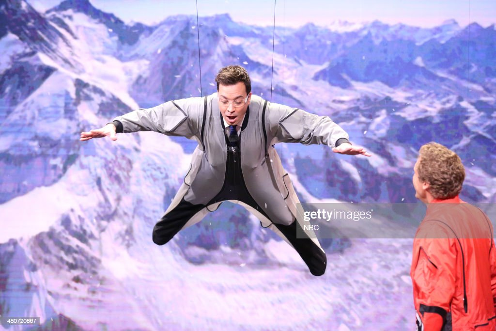 BASE jumper Joby Ogwyn (right) shows host Jimmy Fallon how to BASE jump on March 26, 2014 --
