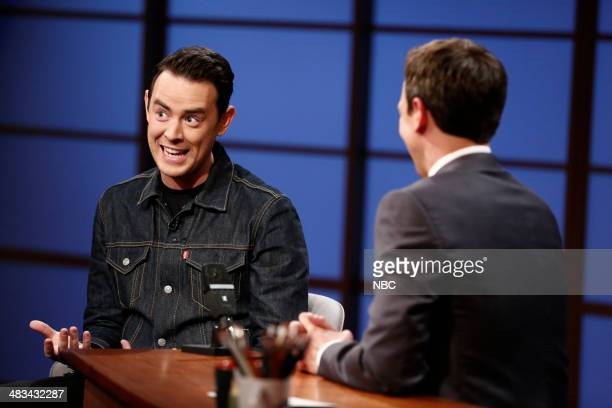 Actor Colin Hanks during an interview with host Seth Meyers on April 8 2014