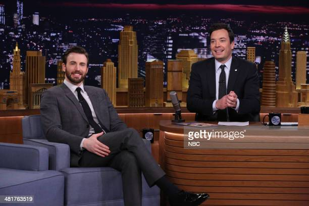 Actor Chris Evans during an interview with host Jimmy Fallon on March 31 2014