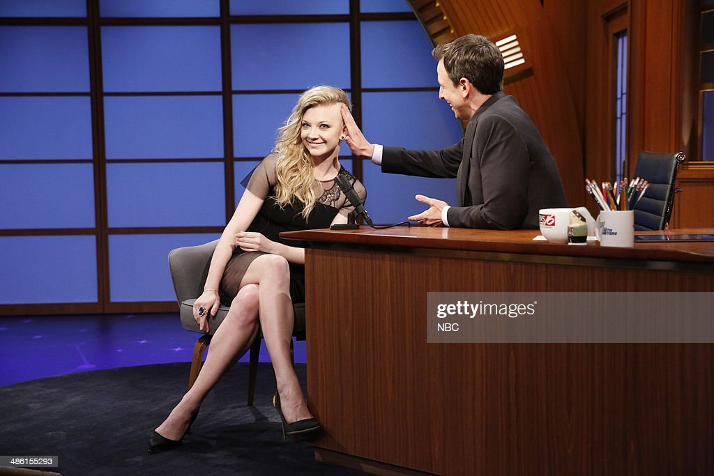 Actress <a gi-track='captionPersonalityLinkClicked' href=/galleries/search?phrase=Natalie+Dormer&family=editorial&specificpeople=817757 ng-click='$event.stopPropagation()'>Natalie Dormer</a> during an interview with host <a gi-track='captionPersonalityLinkClicked' href=/galleries/search?phrase=Seth+Meyers&family=editorial&specificpeople=618859 ng-click='$event.stopPropagation()'>Seth Meyers</a> on April 22, 2014 --