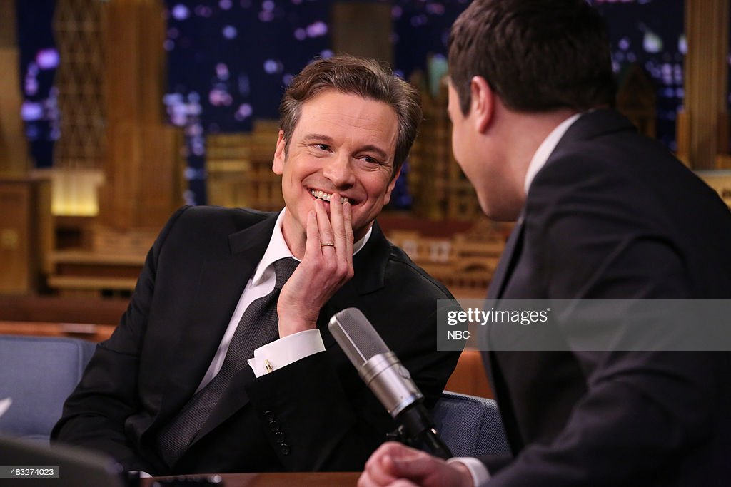 Actor <a gi-track='captionPersonalityLinkClicked' href=/galleries/search?phrase=Colin+Firth&family=editorial&specificpeople=201620 ng-click='$event.stopPropagation()'>Colin Firth</a> during an interview with host Jimmy Fallon on April 7, 2014 -- (Photo by: Nathaniel Chadwick/NBC/NBCU Photo Bank via Getty Images)..